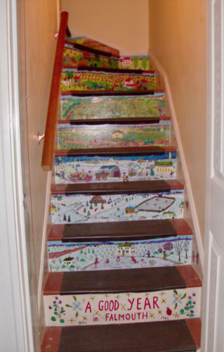 The following year, I painted a bit of family remembrances on the risers of the back stairs in our home.